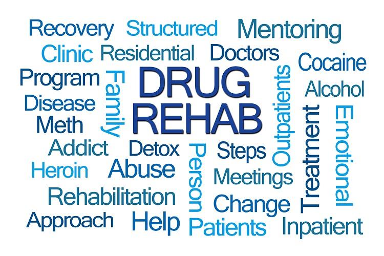 Drug Rehab Word Cloud on White Background